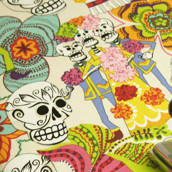 PADDED Ironing Board Cover Designer ironing board cover Custom cover made with Alexander Henry's Day of the Dead in cream pick your size
