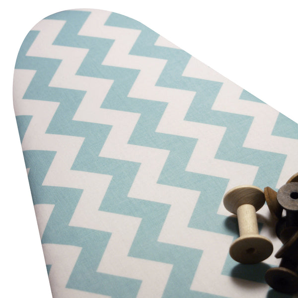 OVERSIZE Ironing Board Cover  18 x 49 ELASTIC BINDING made with Riley Blake Turquoise and White Chevron