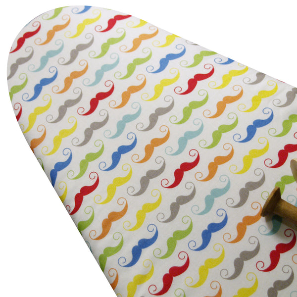 PADDED Ironing Board Cover made with Riley Blake bright mustaches on white select the size