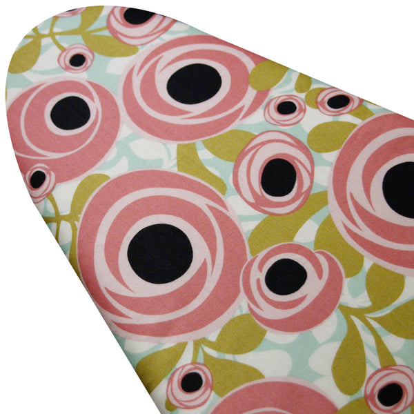 PADDED Ironing Board Cover made with Windham Fabrics Hello Gorgeous colorful blossoms on white select the size