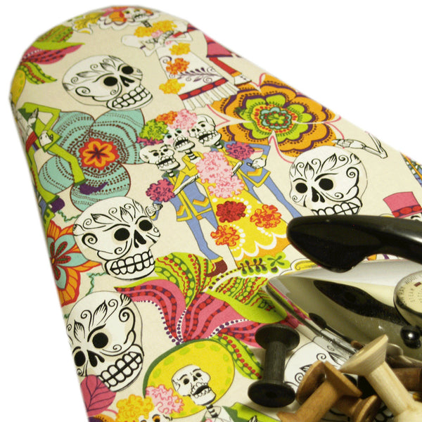 Ironing Board Cover with ELASTIC AROUND EDGES made with Alexander Henry Day of the Dead in cream  select the size