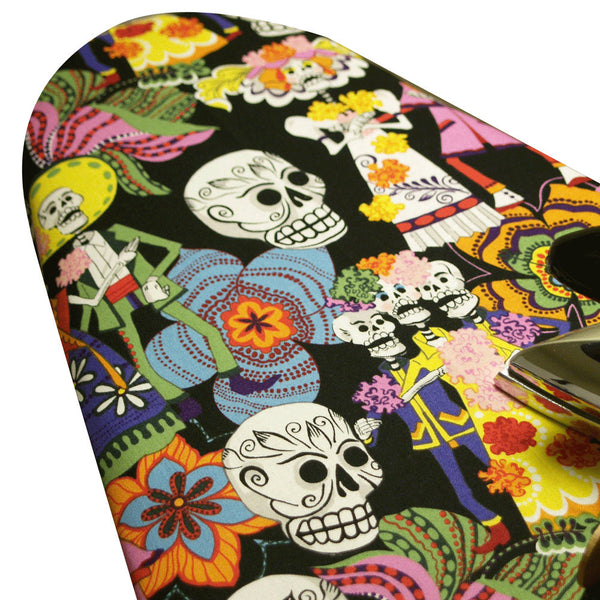 Ironing Board Cover with ELASTIC AROUND EDGES made with Alexander Henry Day of the Dead in black  select the size
