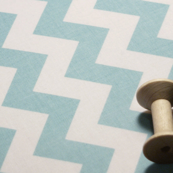 Ironing Board Cover with ELASTIC AROUND EDGES made with Riley aqua turquoise and White chevron select the size