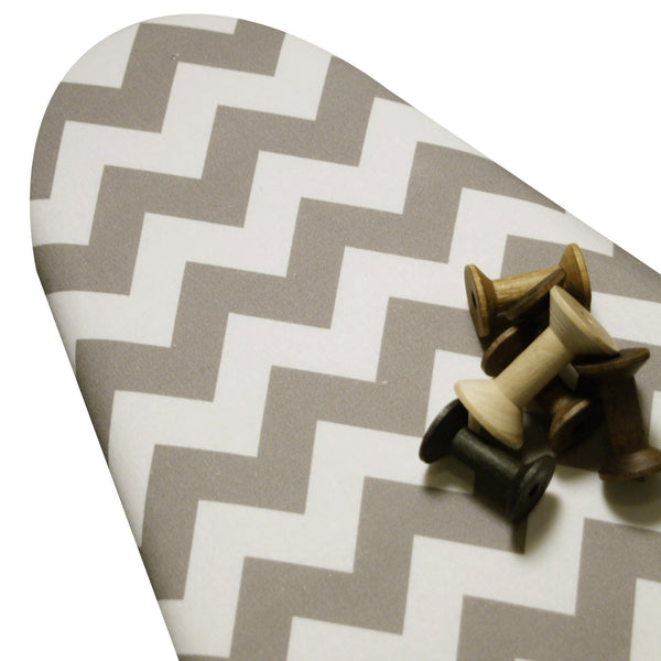 PADDED Ironing Board Cover with ELASTIC around EDGES made with Riley Blake vertical chevron gray and white