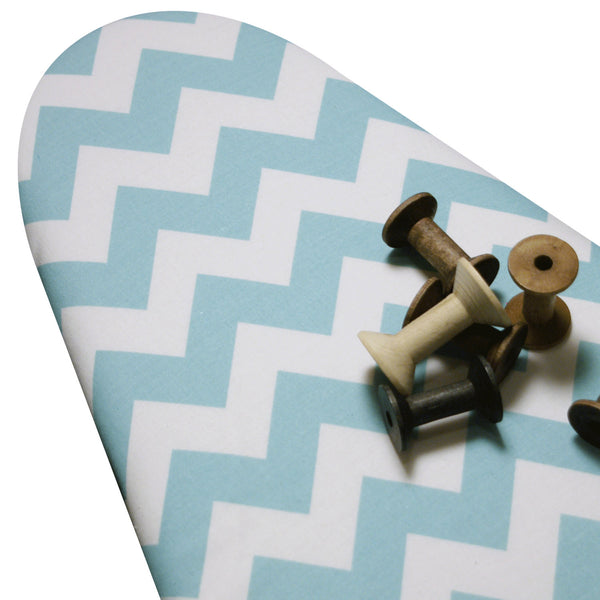 Ironing Board Cover with ELASTIC AROUND EDGES made with Riley aqua turquoise and White horizontal chevron select the size