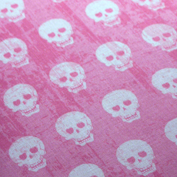 PADDED Ironing Board Cover with ELASTIC around EDGES made with Riley Blake Geekly Chic white skulls on hot pink grunge fabric select your size