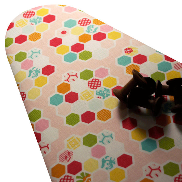 PADDED Ironing Board Cover with ELASTIC around EDGES made with Riley Blake Simply Sweet bright hexagons on soft light pink select your size