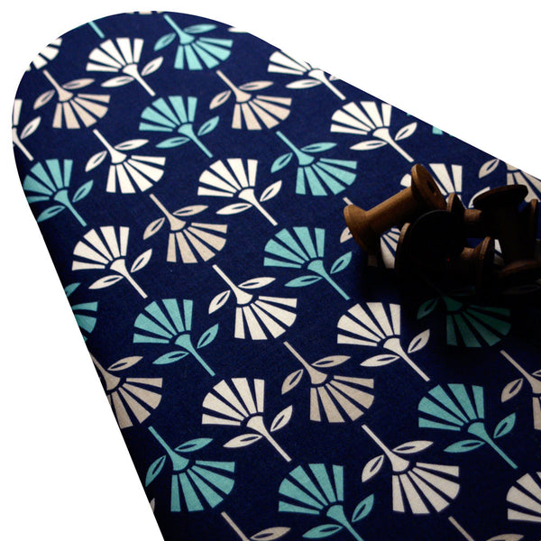 PADDED Ironing Board Cover with ELASTIC around EDGES made with Riley Blake Gracie Girl white and cream flowers on dark blue select your size