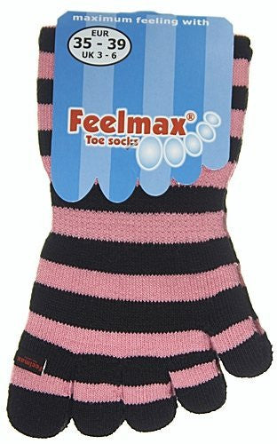 Feelmax Toe Socks Basic Cotton Black/Pink Stripe Ladies' Shoe Size 8.5 - 11