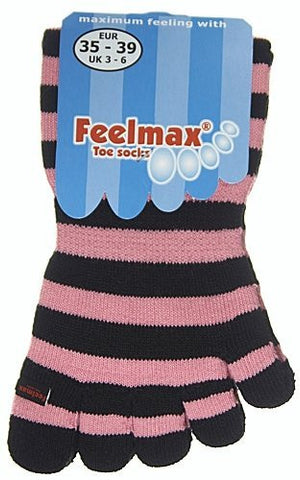 Feelmax Toe Socks Basic Cotton Black/Pink Stripe Ladies' Shoe Size 5 - 8
