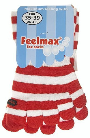 Feelmax Toe Socks Basic Cotton Red/White Stripe Ladies' Shoe Size 5 - 8