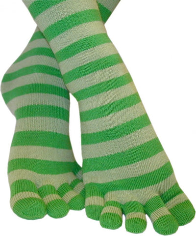 Feelmax Toe Socks Basic Cotton Green/Green Stripe Ladies' Shoe Size 5 - 8
