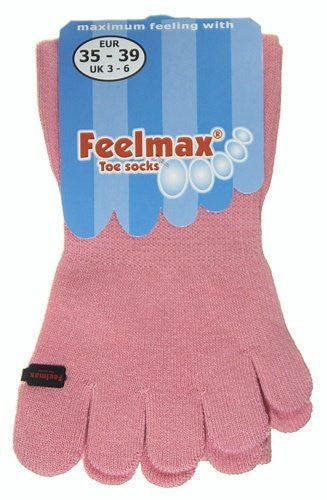 Feelmax Toe Socks Basic Cotton Solid Pink Ladies' Shoe Size 8.5 - 11