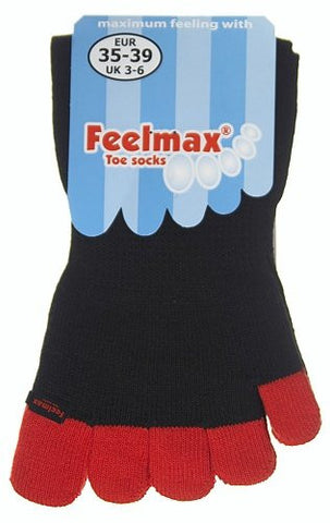 Feelmax Toe Socks Basic Cotton Black Sock with Red Toes Men's Shoe Size 10 - 14