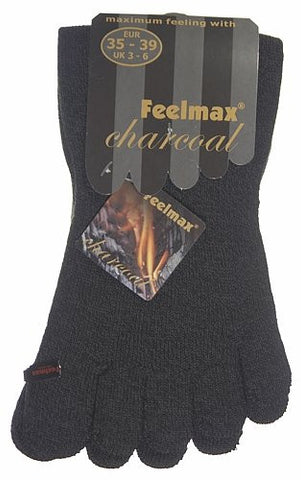 Feelmax Charcoal Toe Socks Ladies Shoe Size 8.5 - 11 and Men's Shoe Size 7 - 9.5