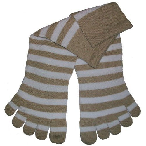Feelmax Toe Socks Basic Cotton Beige/White Ladies Shoe Size 8.5 - 11 and Men's Shoe Size 7  - 9.5