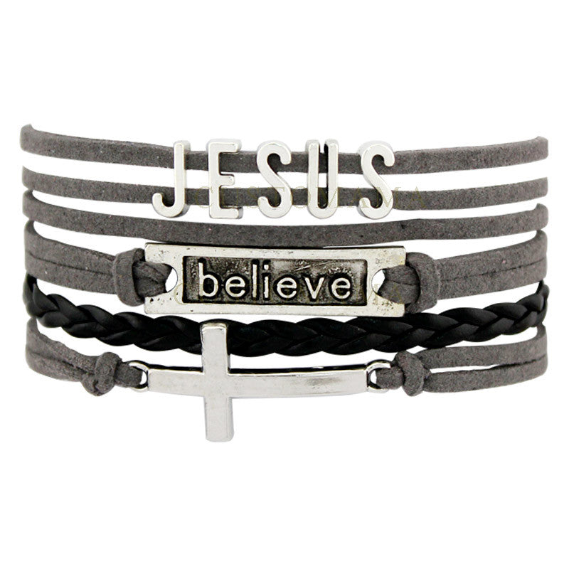 Jesus Believe Cross Bracelets