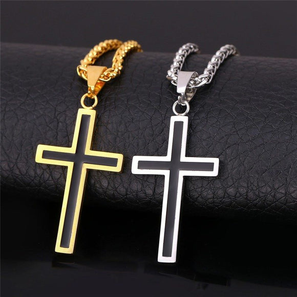 18K Gold Plated/Silver Steel Cross Necklace - Special Design Jewelry - 1