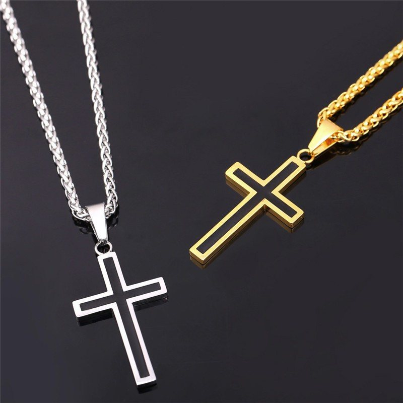 18k gold plated silver steel cross necklace 41024x1024gv1477048507 18k gold and silver cross necklace 2495 aloadofball Image collections