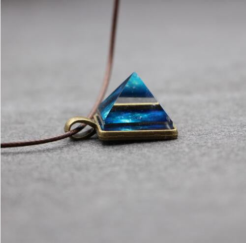 Shining Blue Pyramidal Pendant Necklace