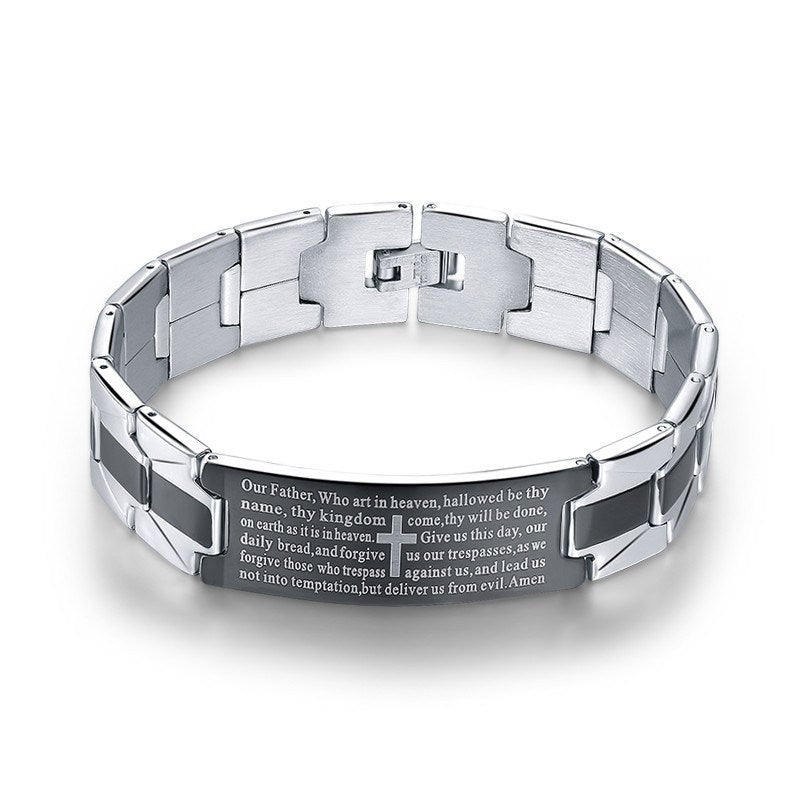 2017 Lord's Prayer Steel Cross Bracelet - Special Design Jewelry - 1