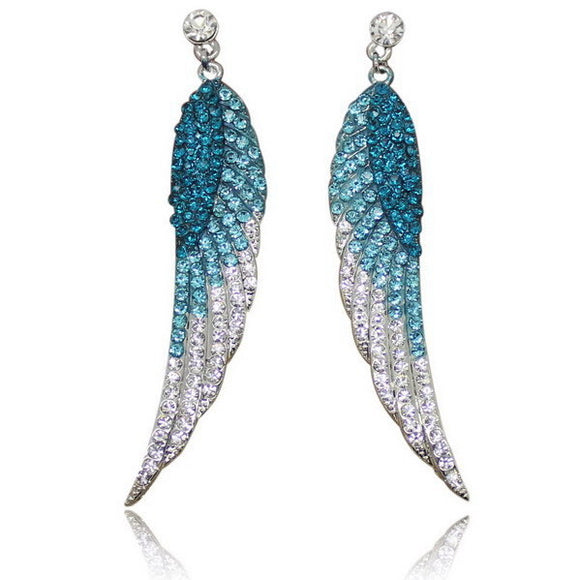 2017 Long Rhinestone Angel Wings Feather Crystal Earrings with Stone - Special Design Jewelry - 3