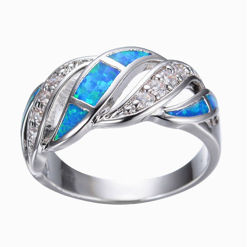 Silver and Opal Ring with Rhinestones