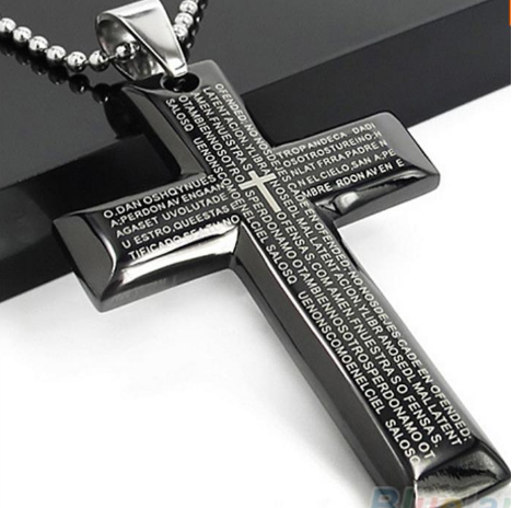 Lord's Prayer Cross Steel Necklace + FREE SHIPPING!