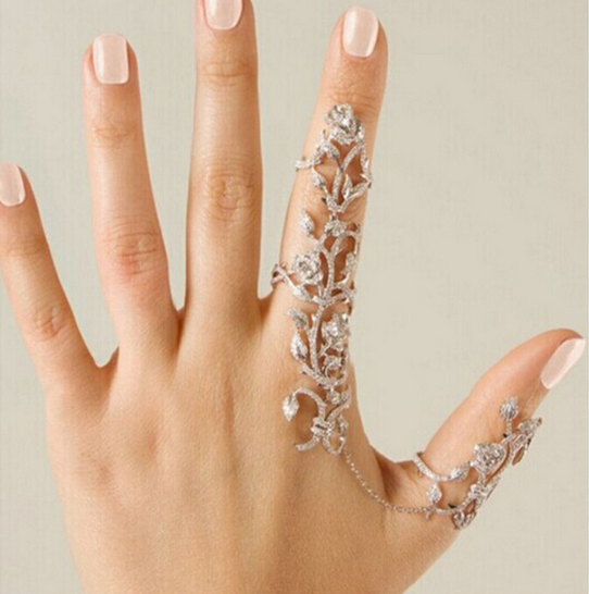 Double Finger Flower Ring