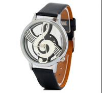 Quartz Hollow Musical Note Leather Wrist Watch
