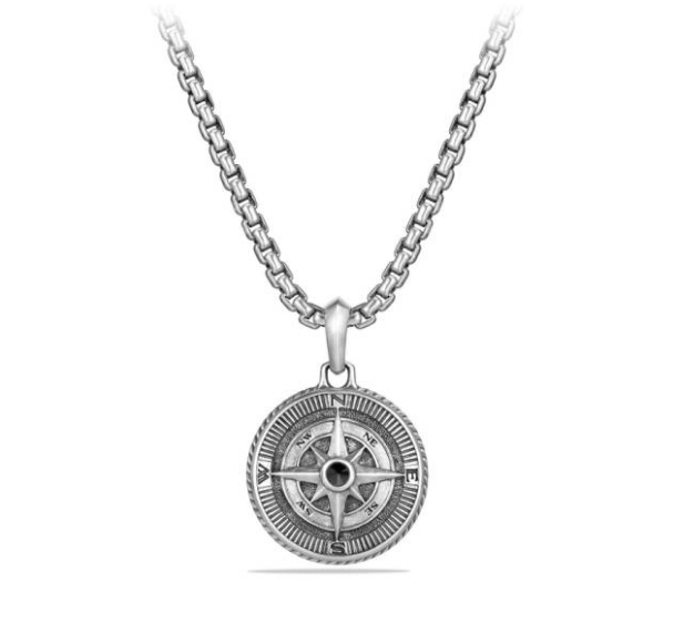 Compass Amulet with Black Crystal
