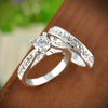 Silver Wedding Set - Engagement Ring + Wedding Band with Zircon Crystals - Special Design Jewelry - 5