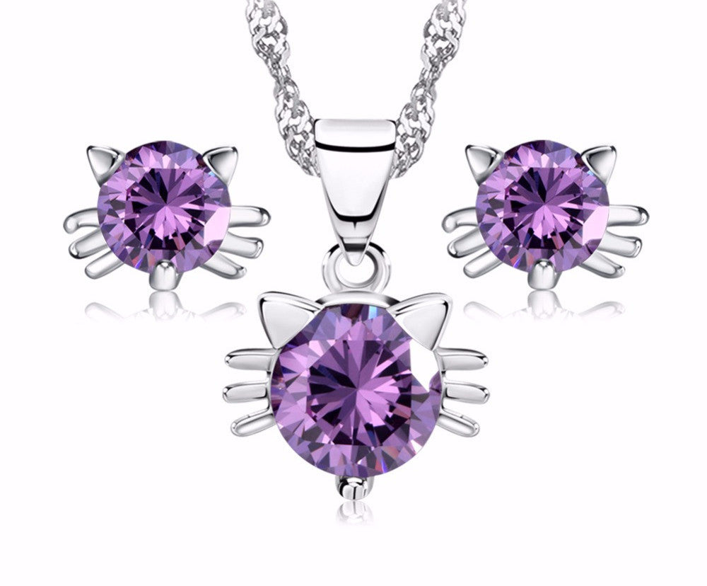Luxury Austria Crystal Cat Set on Platinum Plated