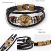 Fashion Bronze Alloy Buckles 12 Zodiac Signs Bracelet Punk Leather Bracelet Wooden Bead + Black Gallstone For Men Charm Jewelry - Special Design Jewelry - 3