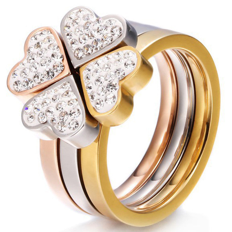 Tricolor Clover Ring