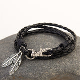 Multilayer Leather Bracelet with Feather Charm