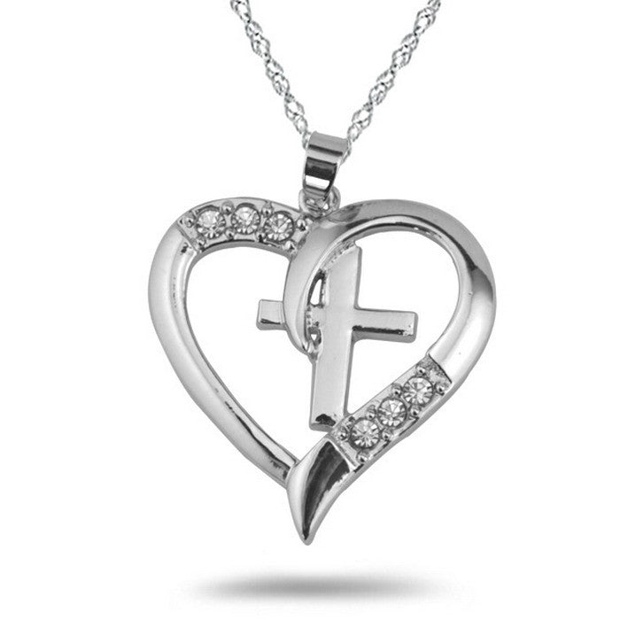 Silver Cross Heart Crystal Necklace