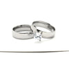 Gold and Silver Wedding Rings Set with Zircon