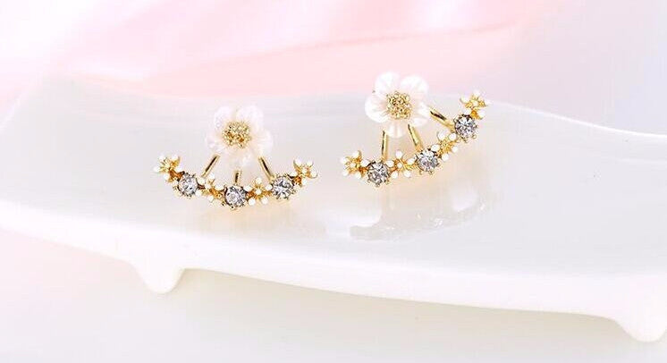 Gold and Silver Flower Stud Earrings