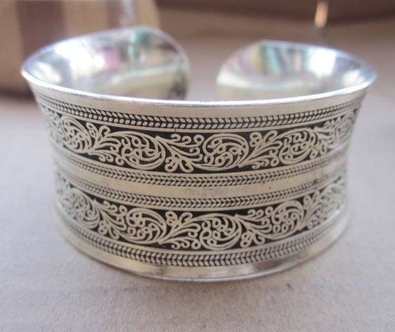 Gypsy Tibetan Silver Vintage Bracelet Bangle Cuff - Special Design Jewelry - 1