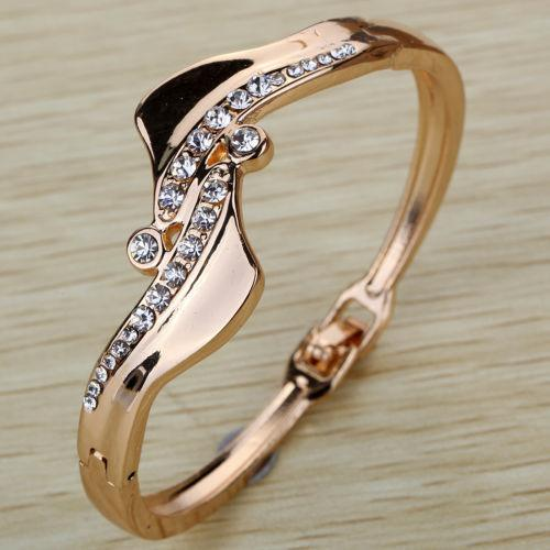 Gold Plated Antisymmetric Crystal Bangle - Special Design Jewelry - 1