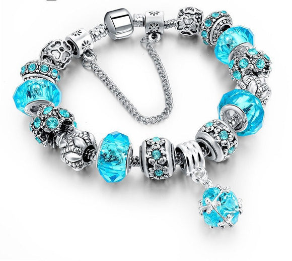 Tibetan Silver Blue Crystal Charm Bracelets DIY Beads - Special Design Jewelry - 1