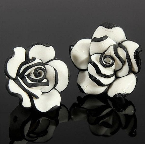 Black & White Rose Stud Earrings - Special Design Jewelry - 1