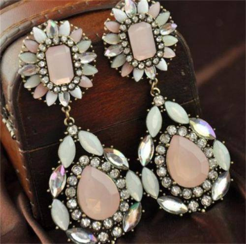 Bohemian Pink Crystal Water Drop Earrings - Special Design Jewelry - 1