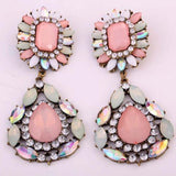 Bohemian Pink Crystal Water Drop Earrings - Special Design Jewelry - 2