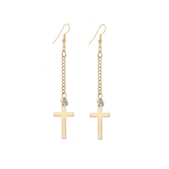 2016 Gold & Silver Long Cross Earrings - Special Design Jewelry - 1