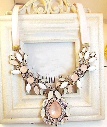 Bohemian Pink and White Crystal Statement Necklace - Special Design Jewelry - 1
