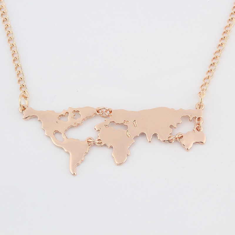 Gold World Map Pendant Necklace