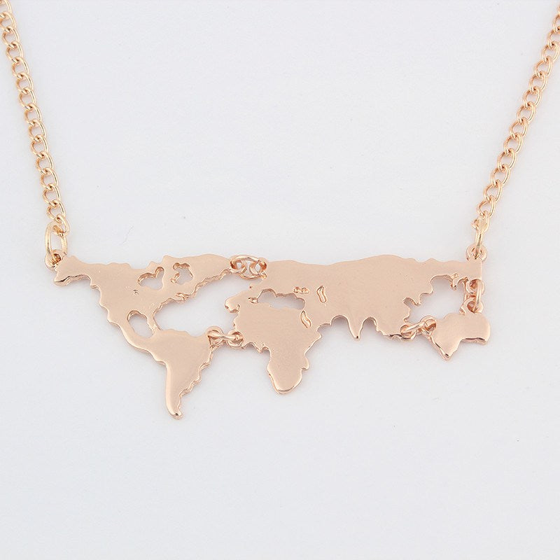 Gold world map pendant necklace gumiabroncs Image collections