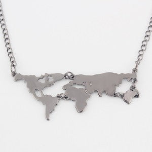 Gold World Map Pendant Necklace - Special Design Jewelry - 7
